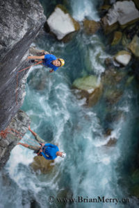 Kazue leading a beautiful rock climb near Whistler, British Columbia